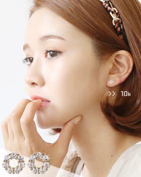 Gold donut earring (er657)