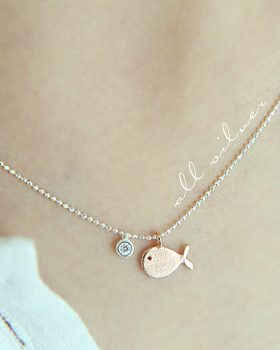 Silver fish Necklace (nk442)