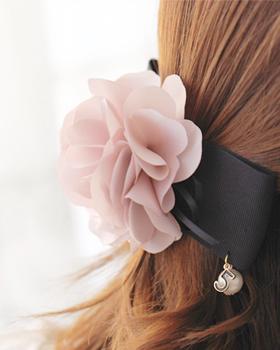Black ribbon barrettes (hp063)