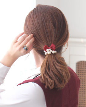 Pearl hair ribbon straps (hs017)