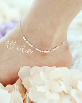 Silver moved pearl anklets (ak045)
