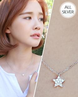Silver Star light sound Necklace (nk474)