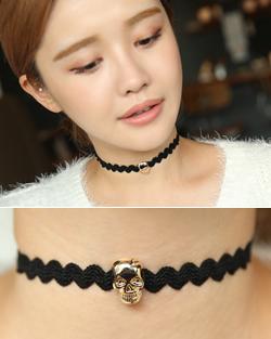 Min Hari Skull Choker Necklace (nk480)