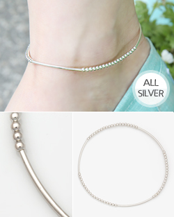 Silver elastic anklets (ak047)