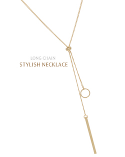 Ring and bar Gold Necklace (nk490)