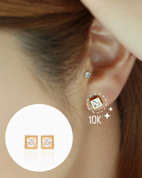 Gold square earring (er1225)