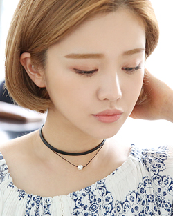 Two lines Pearl Choker Necklace (nk509)