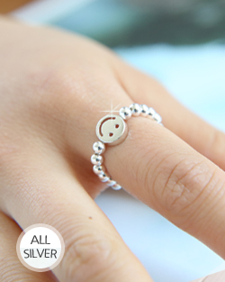 Elastic Smile Silver Ring (rg478)