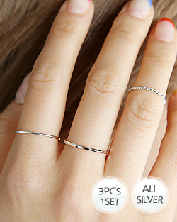 3Set layered Silver Ring (rg477)