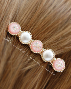 Transparent button pearl hairpin hairpin (hp441)