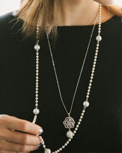 Chain Pearl Necklace (nk428)