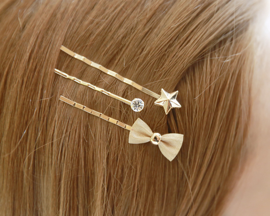 3pc ribbon and star barrettes (hp446)