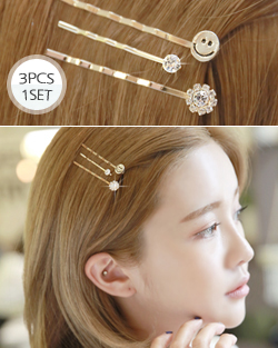3pc Smile Hairpin (hp440)