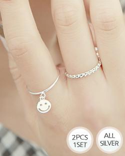 2 sets Smile Silver Ring (rg476)