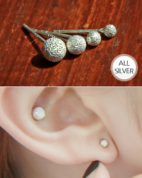 Silver earring ball earring (er1372)