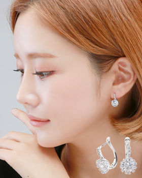 Lime cue one-touch earring (er1845)