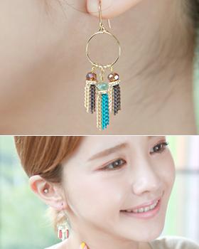 Gemstone chain earring (er1724)