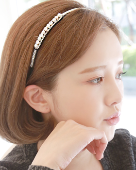 Side pearl hairband (hb609)